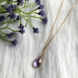 Jewelry - Dainty Handmade Amethyst and Rose Gold Necklace